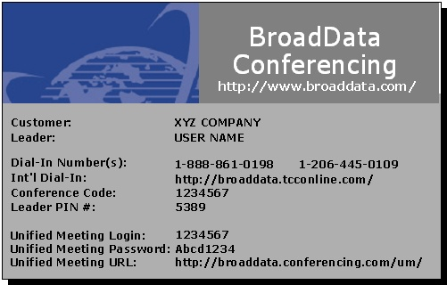 BroadData Conferencing Moderator Card Front
